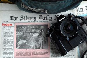 Camera, Courthouse, and Front page. All in one shot.