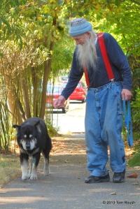 Jack taking Pongo for a short walk
